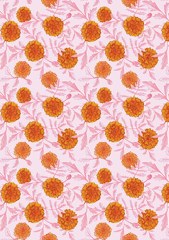 Marigolds on pink - pattern design by Sarah Loveday Studio